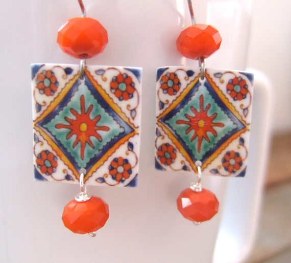 Mexican Earrings, Decorative Talavera tiles, fo ceramic, orange donut crystals