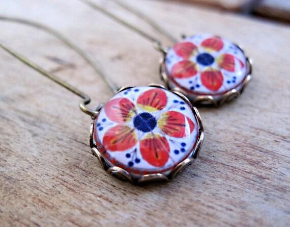 Mexican Talavera tile folk art cabochon, handmade, Antique oxidized brass kidney wires, long dangle earrings, free gift wrap