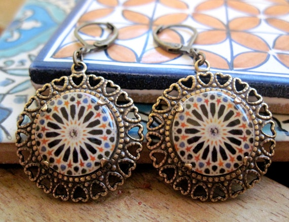 Calat Alhambra decorative tile, Tribal Boho chic earrings, Handmade Islamic tile design cabochon, antique brass setting, lever back earwires