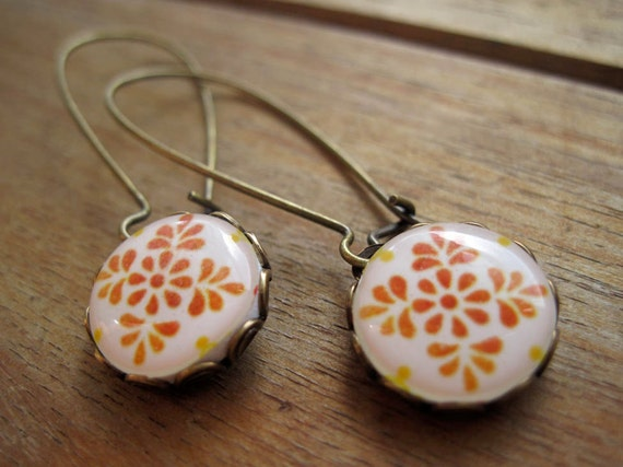Mexican earrings, Talavera ceramic tile design cabochon, handmade, Antique oxidized brass kidney wires, long dangle earrings, made to order