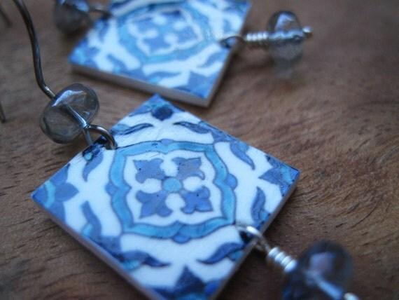 SALE, Spanish Jewelry, Spanish earrings, Portuguese Iberian ceramic tile pattern earrings, Espana, Blue long earrings