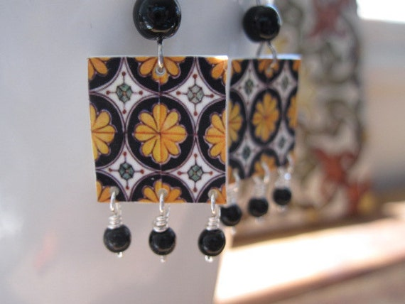 Sale, Southwestern Talavera tile earring, Handmade tile in mustard yellow and black, Mexican jewelry, Free shipping, free gift wrap