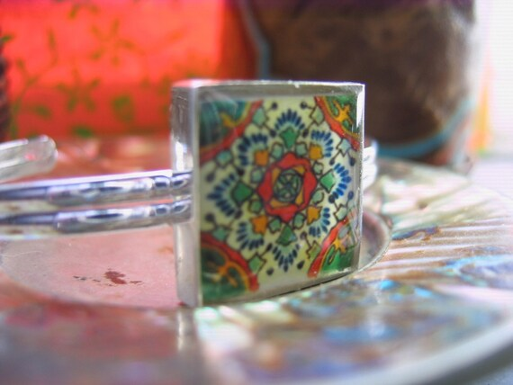 Mexican decorative tile bracelet