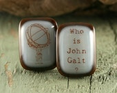 Atlas Shrugged Fused Glass Cuff Links