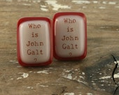 Who Is John Galt Fused Glass Cuff Links RED AND PEACH