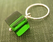 Green Glass Emerald Cube Pendant