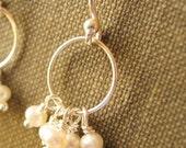 Five Pearl Circle Earrings