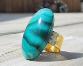 SALE  Oval Green Onyx Ring. Wide Hammered Gold Band.  SALE