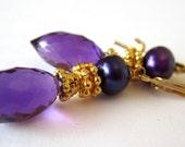 Amethyst Earrings. Vermeil. Gold Filled.   Royal Purple Dew Drops by LeanneDesigns