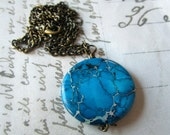 Teal Blue Jasper Necklace with Bronze Chain.