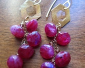 RESERVED  50% SALE   Gemstone Earrings. Raspberry Moonstone Dangles. Gold.