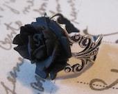 Black Rose Antique Filigree  Ring. Adjustable Ring.