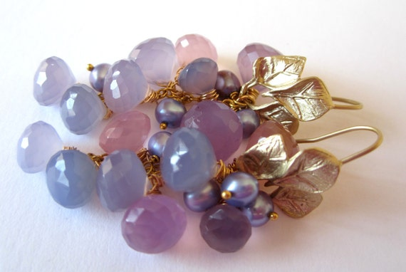 Lavender Chalcedony Earrings. Matte Gold. Freshwater Pearls.  Spring Fling by LeanneDesigns Fashion Under 50.