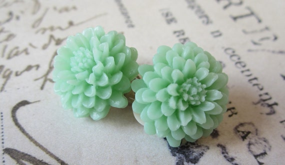 Mint Green Clip On Earrings.  Chrysanthemums.