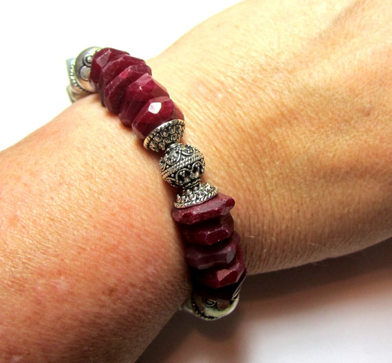 RESERVED      Genuine Ruby Bracelet with Freshwater Pearls and Silver.  July Birthstone.