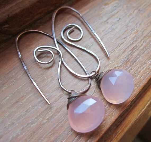 Pink Chalcedony Earrings with Copper,  Gemstone Earrings.