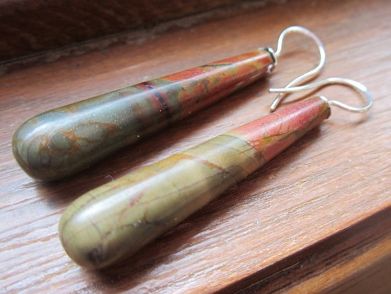 Picasso Jasper Earrings.  Elongated Drops. Sterling Silver Wires.