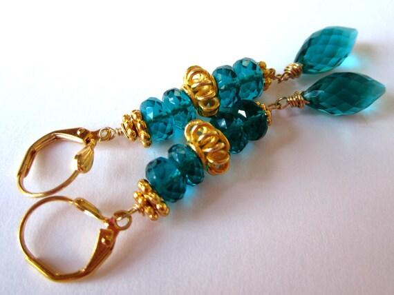 50% off Summer SALE  Teal Green Quartz Puff Briolette Earrings with Vermeil by Leanne Designs