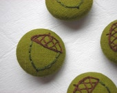 Acorn Embroidered Buttons - Set of 4