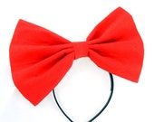 Big Extra Large Red Hair BOW.. soft flannel cosplay or costume bow