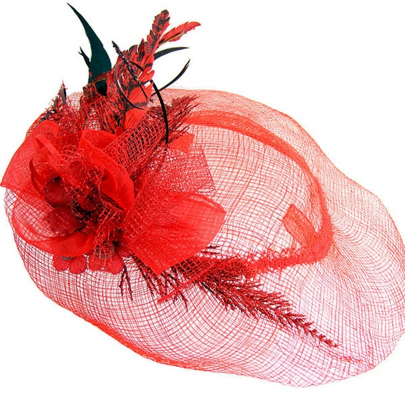 Red Ruby Sinamay Spring Hat