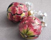 Artichoke Polymer Clay Bead & Pale Green Freshwater Pearl Sterling Silver Earrings