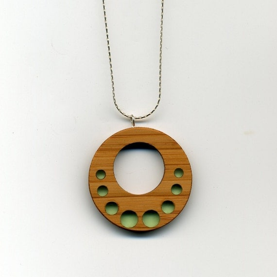 seaglass green bamboo and resin necklace