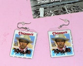 "A ""John Wayne Stage Coach"" Stamp Earring Silver from PBDesigns ""Stamp-n-Earrings"" Collection"