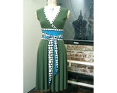 Dress with OBI Sash Belt - Black and White Polka Dot - Green and Turquoise