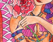 ACEO original redhead mermaid pink tail and a rose Elisa Chong Sofianime acetsy dawg team fantasy art illustration