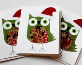 Stitched Green Holiday Owls Card Set
