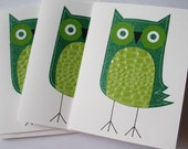 Stitched Textured Green Owls Set