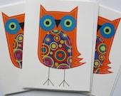 Stitched Orange Owls Card Set