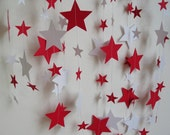 Paper Garland, 12 Feet Long, Red and White Stars