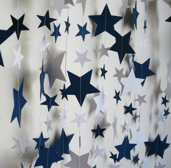 Paper Garland, 14ft Navy and White Stars