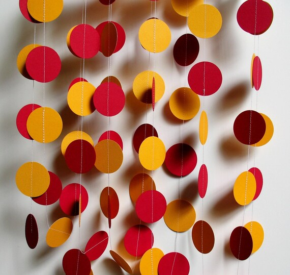 Paper Garland 12 Feet Long, Fall, Autumn, FSU, Garnet and Gold Circles