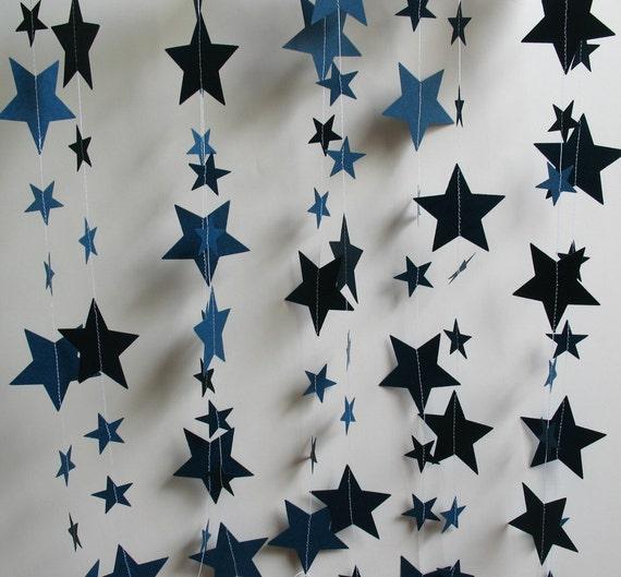 Paper Garland Stars, 13 Feet, Midnight Blue