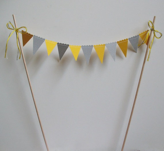 Cake Bunting, Topper, Yellow and Gray Pennants