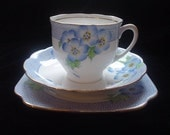 Gift-boxed Vintage China Blue Floral Bell China Cup, Saucer, and Plate