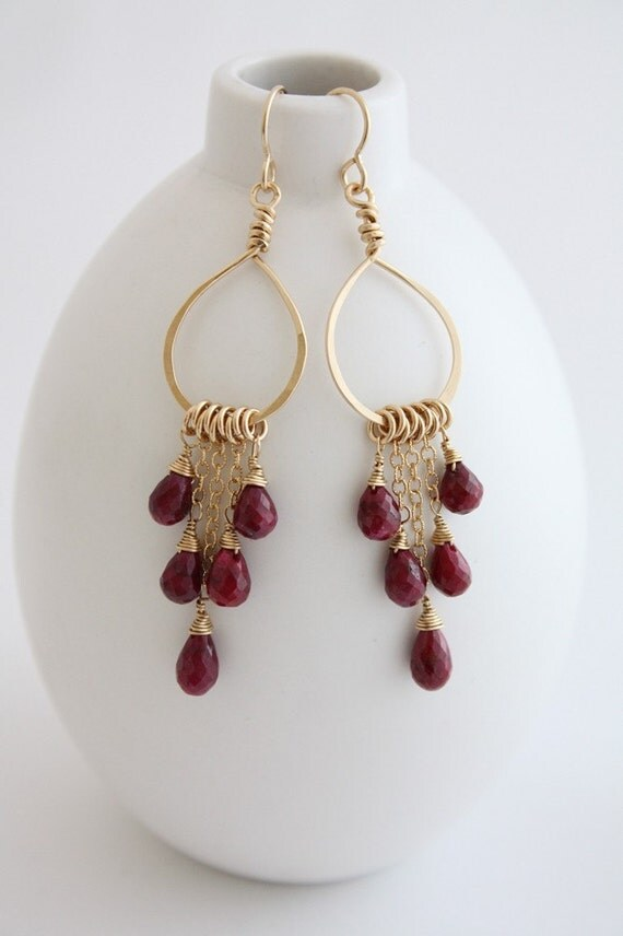 Items Similar To Ruby Chandelier Earrings On Etsy