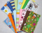 Wonder Wipes Reusable Flannel Wipes Napkins Hankies set of 12 single or 6 double thick U PICK COLORS or PRINTS