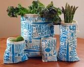 Happy Vegetable Reusable Vegetable Bags in Blue