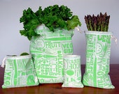 Happy Vegetable Reusable Vegetable Bags in Green