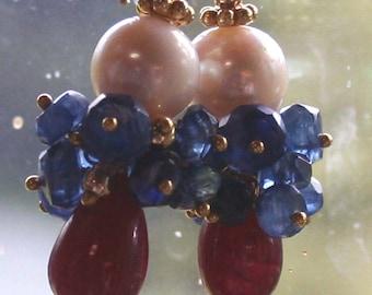 ON SALE: Ruby, Kyanite and Akoya Pearl Earrings, Gemstone and Pearl Earrings, Red White and Blue Earrings, Made in Montana Earrings
