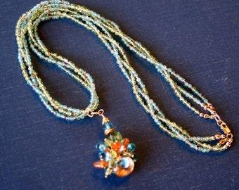 London Blue Topaz, Peridot, Carnelian, Apatite,and Orange Topaz Necklace, Statement Necklace, Gemstone Necklace, Made in Montana Jewelry