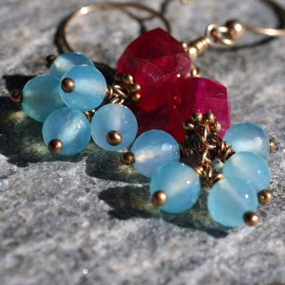 Hot Pink and Blue Chalcedony Earrings on Gold Fill Hooks - Sweet Nothings
