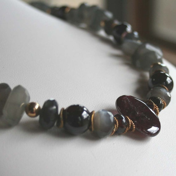 Garnet and Moonstone Necklace - Wine in a Storm