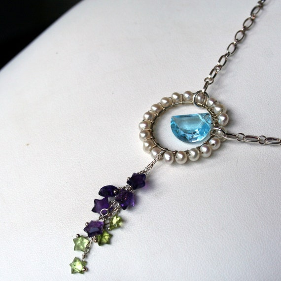 RESERVED - SALE - Sky Blue Topaz Moon, Creamy Freshwater Pearls and Amethyst and Peridot Stars Necklace on Sterling Silver Chain - The Moon and the Stars