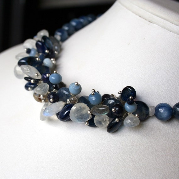 SALE - Kyanite,Labradorite, Moonstone,Spectrolite and Fire Opal Necklace with a Sterling Sun Clasp - Waterfall