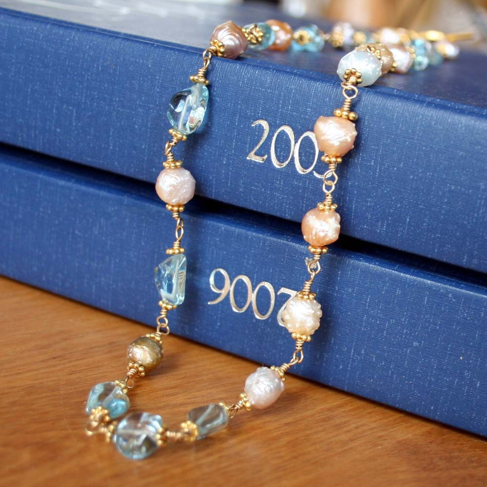 Blue Topaz And Pearl Necklace: Blue Topaz And Pearl Necklace Gemstone And Pearl Necklace
